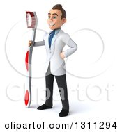 Clipart Of A 3d Happy Young Brunette White Male Dentist Facing Left With A Giant Toothbrush Royalty Free Illustration