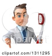 Clipart Of A 3d Unhappy Young Brunette White Male Dentist Holding A Thumb Down And A Giant Toothbrush Over A Sign Royalty Free Illustration