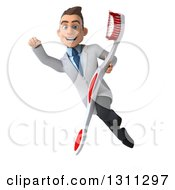 Clipart Of A 3d Happy Young Brunette White Male Dentist Flying With A Giant Toothbrush 2 Royalty Free Illustration