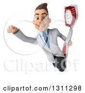Clipart Of A 3d Happy Young Brunette White Male Dentist Flying With A Giant Toothbrush Royalty Free Illustration