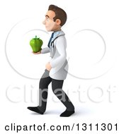 Clipart Of A 3d Young Brunette White Male Doctor Walking To The Left And Holding A Green Bell Pepper Royalty Free Illustration
