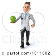 Clipart Of A 3d Young Brunette White Male Doctor Walking And Holding A Green Bell Pepper Royalty Free Illustration