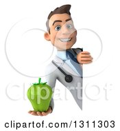 Clipart Of A 3d Young Brunette White Male Doctor Holding A Green Bell Pepper Around A Sign Royalty Free Illustration