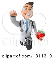 Clipart Of A 3d Young Brunette White Male Nutritionist Doctor Flying And Holding A Strawberry Royalty Free Illustration