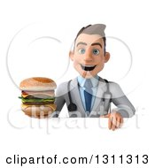 Clipart Of A 3d Young Brunette White Male Doctor Holding A Double Cheeseburger Over A Sign Royalty Free Illustration