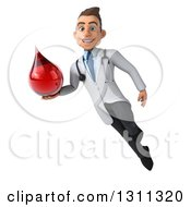 Clipart Of A 3d Young Brunette White Male Phlebotomist Doctor Flying And Holding A Blood Drop 2 Royalty Free Illustration