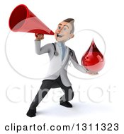 Clipart Of A 3d Young Brunette White Male Phlebotomist Doctor Holding A Blood Drop And Announcing With A Megaphone Royalty Free Illustration