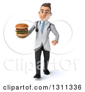 Clipart Of A 3d Young Brunette White Male Doctor Walking And Holding A Double Cheeseburger Royalty Free Illustration