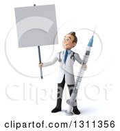 Clipart Of A 3d Young Brunette White Male Doctor Holding A Giant Vaccine Syringe And A Blank Sign Royalty Free Illustration