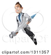 Clipart Of A 3d Young Brunette White Male Doctor Flying And Holding A Giant Vaccine Syringe 2 Royalty Free Illustration