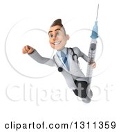 Clipart Of A 3d Young Brunette White Male Doctor Flying And Holding A Giant Vaccine Syringe 3 Royalty Free Illustration