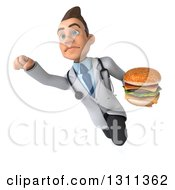 Clipart Of A 3d Young Brunette White Male Doctor Flying And Holding A Double Cheeseburger Royalty Free Illustration