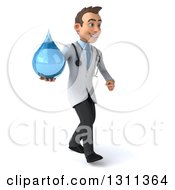 Clipart Of A 3d Young Brunette White Male Doctor Walking Slightly To The Right And Holding A Water Droplet Royalty Free Illustration