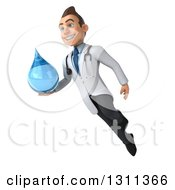 Clipart Of A 3d Young Brunette White Male Doctor Flying And Holding A Water Droplet 2 Royalty Free Illustration