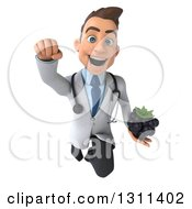 Clipart Of A 3d Young Brunette White Male Doctor Flying And Holding A Blackberry Royalty Free Illustration