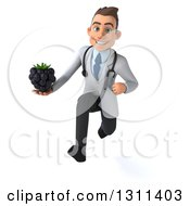 Clipart Of A 3d Young Brunette White Male Doctor Sprinting And Holding A Blackberry Royalty Free Illustration