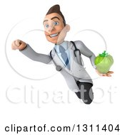 Clipart Of A 3d Young Brunette White Male Doctor Flying And Holding A Green Bell Pepper 2 Royalty Free Illustration