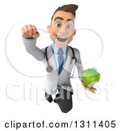 Clipart Of A 3d Young Brunette White Male Doctor Flying And Holding A Green Bell Pepper Royalty Free Illustration