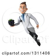 Clipart Of A 3d Young Brunette White Male Nutritionist Doctor Flying And Holding A Blackberry Royalty Free Illustration