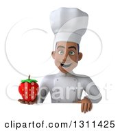 Clipart Of A 3d Young Black Male Chef Holding A Strawberry Over A Sign Royalty Free Illustration