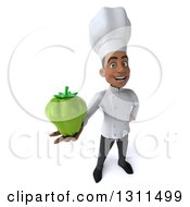 Clipart Of A 3d Young Black Male Chef Holding Up A Green Bell Pepper Royalty Free Illustration