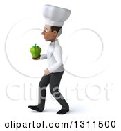 Clipart Of A 3d Young Black Male Chef Walking To The Left And Holding A Green Bell Pepper Royalty Free Illustration