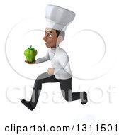 Clipart Of A 3d Young Black Male Chef Sprinting To The Left And Holding A Green Bell Pepper Royalty Free Illustration
