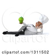 Clipart Of A 3d Young Black Male Chef Resting On His Side And Holding A Green Bell Pepper Royalty Free Illustration