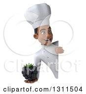 Clipart Of A 3d Young Black Male Chef Holding A Blackberry Around A Sign Royalty Free Illustration