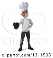 Clipart Of A 3d Young Black Male Chef Holding A Blackberry Royalty Free Illustration