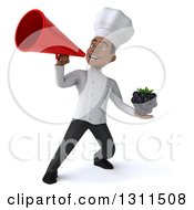 Clipart Of A 3d Young Black Male Chef Holding A Blackberry And Announcing With A Megaphone Royalty Free Illustration