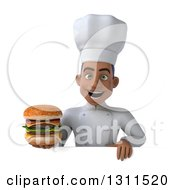 Clipart Of A 3d Young Black Male Chef Holding A Double Cheeseburger Over A Sign Royalty Free Illustration