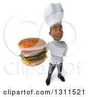 Clipart Of A 3d Young Black Male Chef Holding Up A Double Cheeseburger Royalty Free Illustration