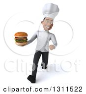 Clipart Of A 3d Young Black Male Chef Speed Walking And Holding A Double Cheeseburger Royalty Free Illustration