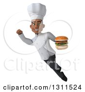 Clipart Of A 3d Young Black Male Chef Flying And Holding A Double Cheeseburger 2 Royalty Free Illustration