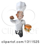 Clipart Of A 3d Young Black Male Chef Flying And Holding A Double Cheeseburger 3 Royalty Free Illustration