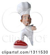 Clipart Of A 3d Young Black Male Chef Holding A Beef Steak Around A Sign Royalty Free Illustration