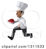 Clipart Of A 3d Young Black Male Chef Sprinting To The Left And Holding A Beef Steak Royalty Free Illustration