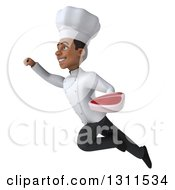3d Young Black Male Chef Flying And Holding A Beef Steak