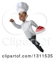 Clipart Of A 3d Young Black Male Chef Flying And Holding A Beef Steak 2 Royalty Free Illustration
