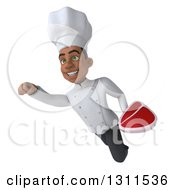 Clipart Of A 3d Young Black Male Chef Flying And Holding A Beef Steak 3 Royalty Free Illustration