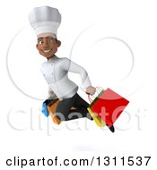 3d Young Black Male Chef Flying And Holding Shopping Bags