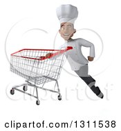 3d Young Black Male Chef Flying With A Shopping Cart 3