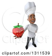 3d Young Black Male Chef Holding Up A Strawberry