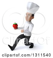 3d Young Black Male Chef Speed Walking To The Left And Holding A Strawberry