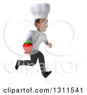 3d Young Black Male Chef Sprinting To The Right And Holding A Strawberry