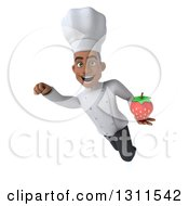 3d Young Black Male Chef Flying And Holding A Strawberry