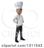 3d Young Black Male Chef Facing Right With Hands On His Hips
