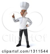 3d Young Black Male Chef Holding Up A Finger