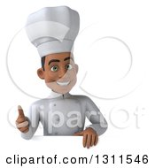 3d Young Black Male Chef Giving A Thumb Up Over A Sign